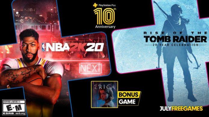NBA 2K20, Erica e Rise of the Tomb Raider são os jogos gratuitos da PlayStation Plus de julho