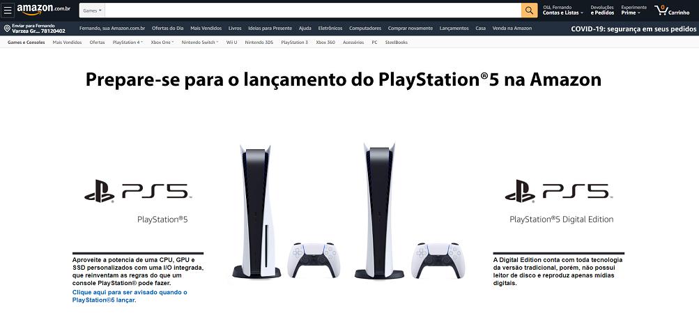 amazon brasil ps5