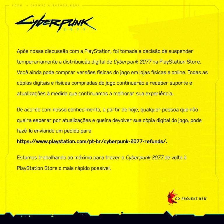 Cyberpunk-2077 removido da psn