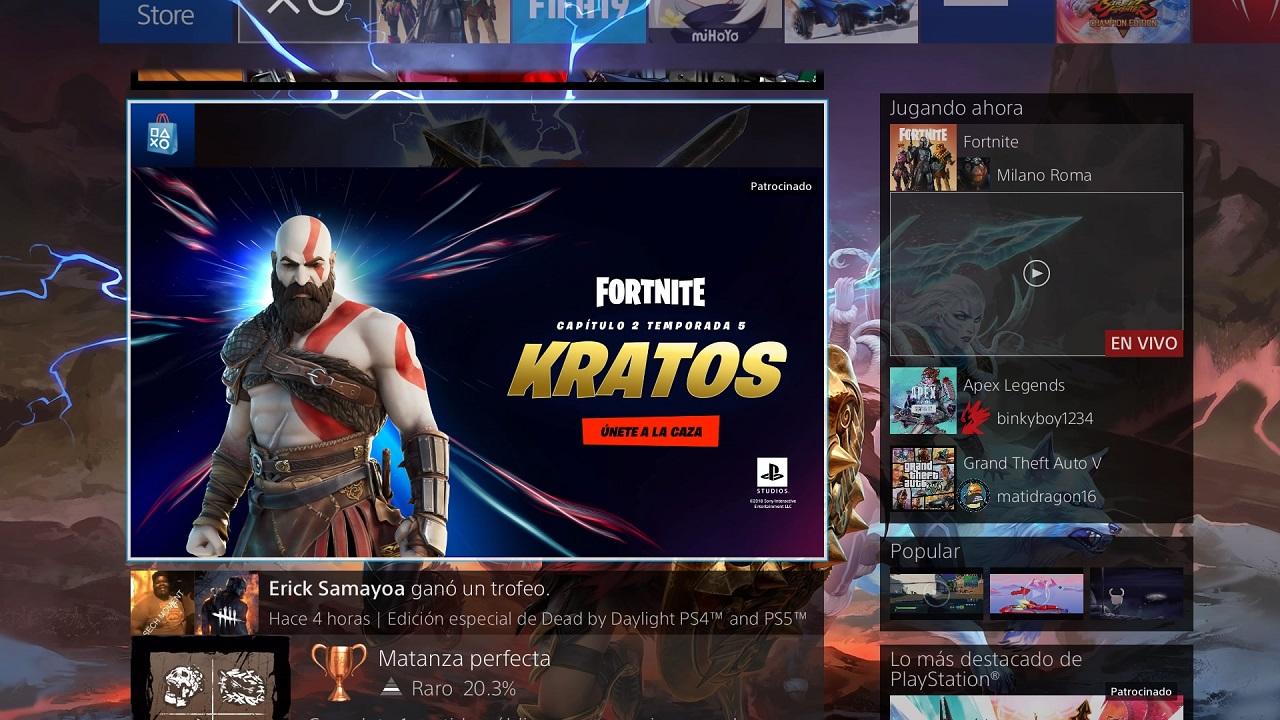 PlayStation Network kratos fortnite