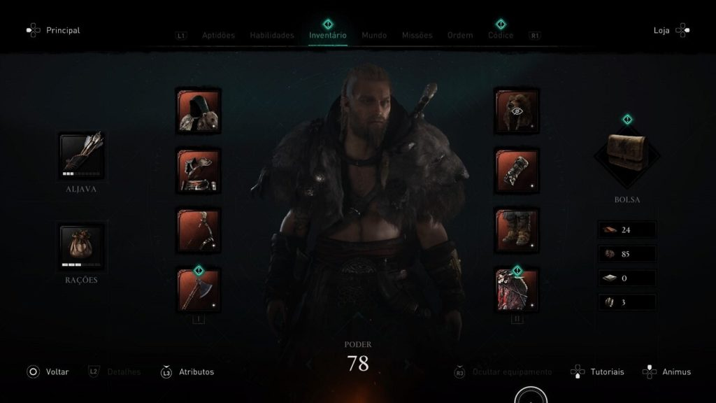menu de personagem Assassin's Creed Valhalla